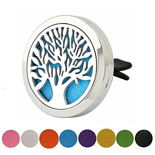 Tree of Life Aromatherapy Car Diffuser Vent Clip Stainless Steel Perfume Locket Jewelry for Men By JAOYU
