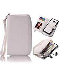 Galaxy A5 2017 Detachable Wallet Case, Vandot Zipper Cash Money Storage Multi-Function 2in1 Magnetic Separable Wallet Case Flip Cover with Credit Card Holder and Removable Phone Back Case Cover para Samsung Galaxy A5 2017 A520, Blanco White