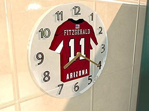 NFL - Horloge murale avec T-shirt incorporé – Personnalisation gratuite: n'importe quel nom, numéro, équipe!! (Arizona Cardinals)