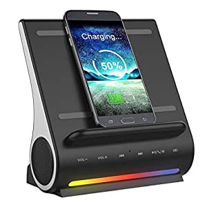 Main Chargers AZPEN D100 3 in 1 Docking Station + Bluetooth Speaker + QI Wireless Charger, CW6687E Processor, Support TF music Player / Incoming Call Pick-up