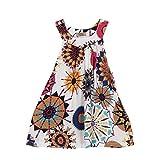 Amlaiworld sommer bunte geometrie drucken neckholder kleid party mandala Ärmellos kleider mode strand Mädchen locker oberteile niedlich dress kleidung,1-8 Jahren (3 Jahren, Weiß)