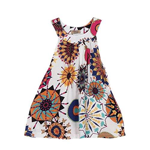Amlaiworld sommer bunte geometrie drucken neckholder kleid party mandala Ärmellos kleider mode strand Mädchen locker oberteile niedlich dress kleidung,1-8 Jahren (8 Jahren, Weiß)