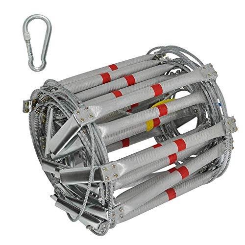 FIREDUXYL Notfall Notleiter, Aluminiumlegierter Stahldraht Sicherheitsweiche Leiter mit Haken, Gebrauch für Flucht in Notfällen - Lagergewicht 1000lb,25m