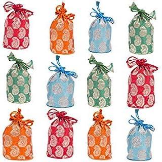 Amba Handicraft Party favor bag Drawstring poches Coin Purse Gift Bag Treat bag cloth bag wedding pouch baby shower bags jewellery bag indian potli bag chocolate bag Organza bag.(6