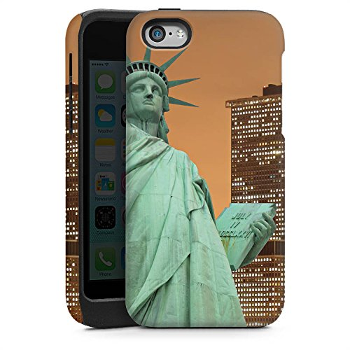 Apple iPhone 4 Housse Étui Silicone Coque Protection Horizon Statue de la liberté New York Cas Tough brillant