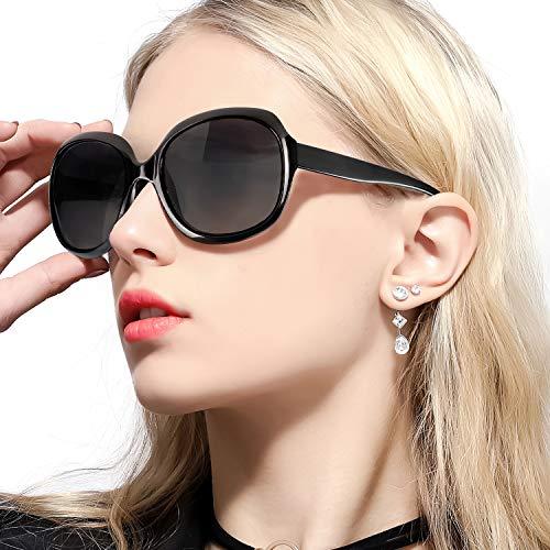 FIMILU Übergroße Sonnenbrillen Damen, Polarisierte UV400 Linse Vintage Classic Fashion Sun Eye Brille (Shwarz)