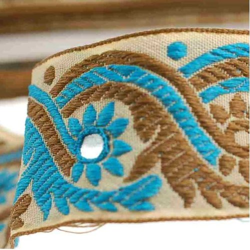 Neotrims Decorative Indian Salwar Kemeez Sari Mirror Trimming Ribbon By The Yard, 1 or 4 meters or 16 meters Sari Length Border. Turquoise Blue & Olive on a Beige Base Ribbon; with Mirror Work Embroidery Sequins, Beautiful! (Jacquard Rib Damen)