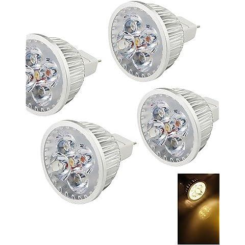 XMQC*4pz. 4W 320 3000k 4 LED Luce Bianca - Argento(12V) , (120 Volt 4 Catena Luce)