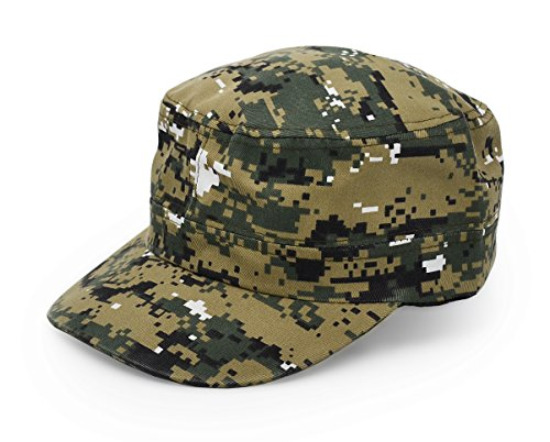 UltraKey Flat Top Baseball Cap, Men Women Cotton Baseball Twill Army Millitary Hat Cap Grey ACU Digital Camo Camouflage -