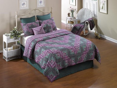 donna-sharp-melanie-log-cabin-hand-quilted-100percent-cotton-twin-quilt