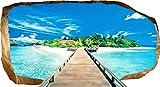 Startonight 3D Tapete Brücke zur Insel, Wandmalerei Bild an der Wand Großformat Modern Muster Dekorative Kunst Wand 82 x 150 cm