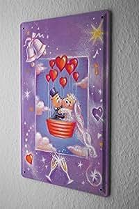Fête D'Annivers Fun Décoration Plaque Émaillée Verre coeur de mariage ballon de champagne Publicité Signes En Métal 20X30 cm