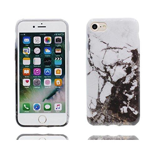 [ Iceberg Nero ] iPhone 6/6s Marble Custodia, Cover [Stone Texture Collection] Stampa in marmo TPU Soft Custodia per iPhone 6 / 6S (4,7 pollici) Case anti-shock anti-graffi Color 10