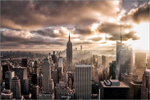 Posterlounge Leinwandbild 180 x 120 cm: Sonnenuntergang New York von Sören Bartosch - fertiges Wandbild, Bild auf Keilrahmen, Fertigbild auf echter Leinwand, Leinwanddruck