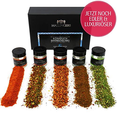 Hallingers 5er Premium-Grill-Gewürze als Geschenk-Set (95g) - Königlich bayrisches BBQ (MiniDeluxe-Box) - zu Bayern & Volksfeste Für Ihn (Geschenk-sets, Bbq)