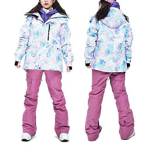 SNHXUE Traje De Esquí Cálido para Mujer Al Aire Libre Chaqueta De Snowboard Impermeable A Prueba De Viento/Pantalones Pink Purple-XL
