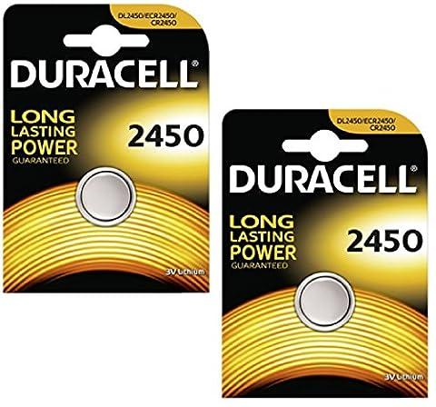 Two (2) X Duracell CR2450 Lithium Coin Cell Battery 3v Blister (Agli Ioni Di Litio A Bottone)