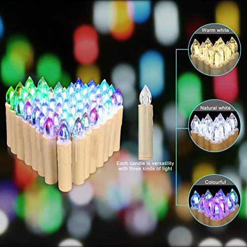 Jingrong 10 er Weihnachten Kerzen, RGB, LED Kerzen in 3 verscheidene Blinkeffekt,kabellose und farbwechselnde Weihnachtskerzen mit Fernbedienung, Weihnachtsbeleuchtung (Batterie nicht enthalten)