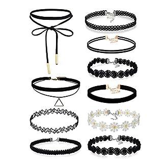 Aroncent 10 Stück Halskette Choker Damen Velvet Kette Tattoo Halsband Spitze Schwarz Halskette Choker Blumen Halsreif für Frauen Mädchen Damen