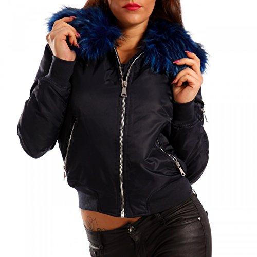Damen Bomberjacke Gefüttert mit Kunstfellkragen Fliegerblouson Winter Jacke Blau/Blau Fell