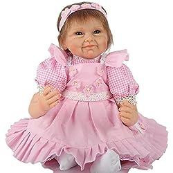 LINAG Muñeca Renacida Bebé Vinilo Silicona Suave Realista Fashion Lifelike Juguetes Doll Toque Cumpleaños Jugar 55cm Casa Regalo Lindo Educación Temprana Regalo de Niña