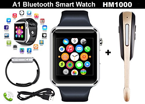 CASVO Oppo F7 Compatible Combo Pack of A1 Silver Smart Watch and HM1001 for All Android and iOS Smart Phones (42 mm) (Silver)