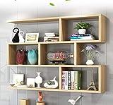 SjYsXm-Floating shelf wandregal Wandregal Wand-hängendes Kabinett Wohnzimmer hängendes Kabinett-Schlafzimmer-Wand-Kabinett-Bücherregal-Bücherregal-Kreatives Gitter-Wein-Gestell