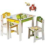 3 tlg. Set: Sitzgruppe für Kinder - aus sehr stabilen Holz - weiß - ' Bagger / Traktor & Auto ' - Tisch + 2 Stühle / Kindermöbel für Jungen & Mädchen - Kindertisch - Kinderstuhl - Kinderzimmer für circa 1 - 3 Jahre - Kindersitzgruppe - Tischgruppe / Stühlen - Baustelle