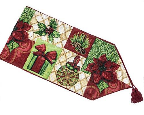 Tache Urlaub Nachricht kommt Tischläufer, Polyester-Mischgewebe, Multi, Green, Red, 13 x 72