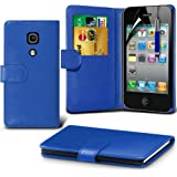 (Blau) Apple iPhone 4/4S Schutzfolie Faux Credit / Debit Card Leder Book Style Tasche Skin Case Hülle Cover, einziehbare Touchscreen Stylus Pen & LCD-Screen Protector Guard von Spyrox