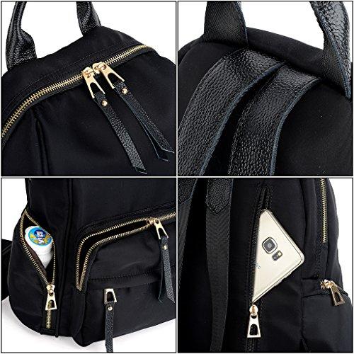 UTO Laptop Rücksack Oxford wasserdicht Kleid Nylon Unisex Rucksack Schule Kollege Buchtasche Reise Tasche Shoulder Purse Purple schwarz_