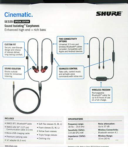 Shure SE535LTD+BT1-EFS Sound Isolating Ohrhörer - Bluetooth In-Ear Ohrhörer mit passiver Geräuschunterdrückung & drei hochauflösenden Treibern - Rot - 2