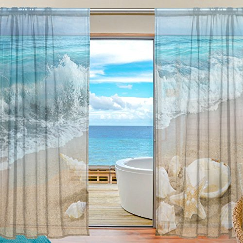 Ffy go sheer voile finestra tenda mare spiaggia mare stampato materiale morbido per camera da letto soggiorno cucina decor casa decorazione porta 2pannelli 198,1x 139,7cm