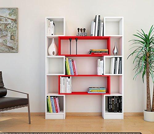 Hope libreria bianco rosso scaffale per libri for Scaffali per ufficio