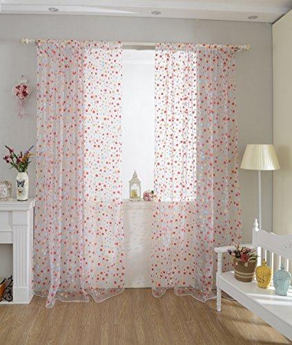 Bunte Dot Zimmerfenster Voile Organza Panel Drapieren Vorhang Wohnkultur Rot (Dot Vorhang Stoff)