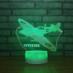 QKAW 3D Lampe Illusion Optique LED Veilleuse Avion Veilleuse LED 3D 7 Couleurs Tactile Lampe de Chevet Chambre Table Art Déco Enfant Lumière de Nuit avec Câble USB De Noël Cadeau