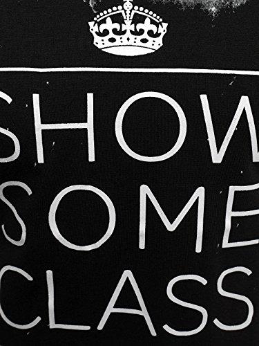 OZONEE Herren T-Shirt mit Motiv Kurzarm Rundhals Figurbetont J.STYLE SS168 Schwarz