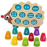 Natureich Igel Montessori Mathe Spielzeug aus Holz zum Zahlen Lernen, Bunt / Natur ab 3 Jahre für die frühe Motorik Entwicklung & Ausbildung ihres Kindes (Blau)