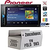 VW Polo 9N3 - Autoradio Radio Pioneer MVH-A100V - 2DIN USB Touch TFT - Einbauzubehör - Einbauset