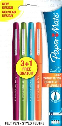 paper-mate-s0936130-flair-original-faserschreiber-medium-10-mm-gemischte-helle-sonderfarben-3-plus-1
