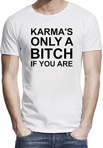 Karma's Only A Bitch If You Are Funny Slogan T-shirt bordo grezzo uomini X-Large
