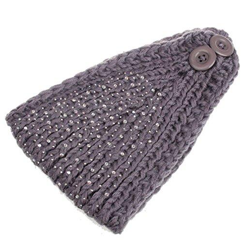 TININNA Damen Strass Gestrickte Stirnband Winter Warm Häkeln Turban Ohrwärmer Haarschmuck Kopf Wraps EINWEG Verpackung (Bart Häkeln)