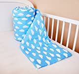 Amilian® Bettumrandung Nest Kopfschutz Nestchen 420x30cm, 360x30cm, 180x30 cm Bettnestchen Baby Kantenschutz Bettausstattung Wolken Blau (180x30cm)