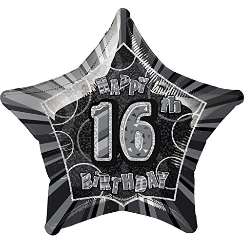 unique-party-happy-16th-birthday-black-star-foil-balloon-one-size-black-silver