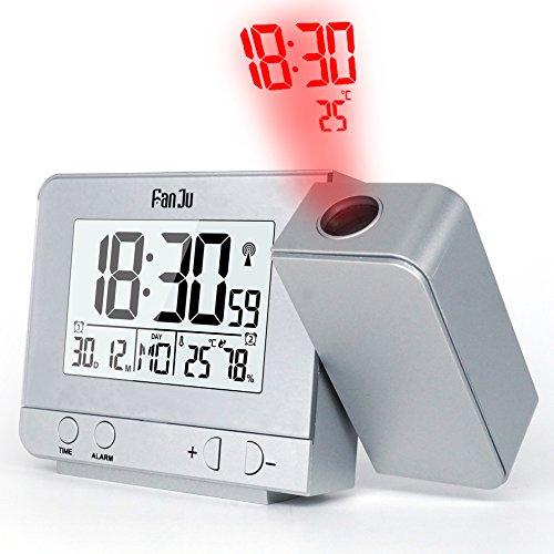 FanJu FJ3531S Projektionswecker mit Temperatur und Zeit-Projektion/USB-Ladegeräte/Innentemperatur und Luftfeuchtigkeit/DCF Automatische Zeitanpassung/Kalender/Doppel Alarme mit Snooze-Funktion.