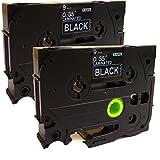 Neouza 2pk Compatible pour BROTHER P-Touch laminé TZe TZ étiquette Tape Cartridge 9mm x 8m Tze-325 white on black.