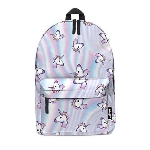 Imagen de fringoo® holo unicorn niñas niños kids  bolso de escuela   bolsa de viaje equipaje de mano emoji holograma multicolor holo unicorn regular