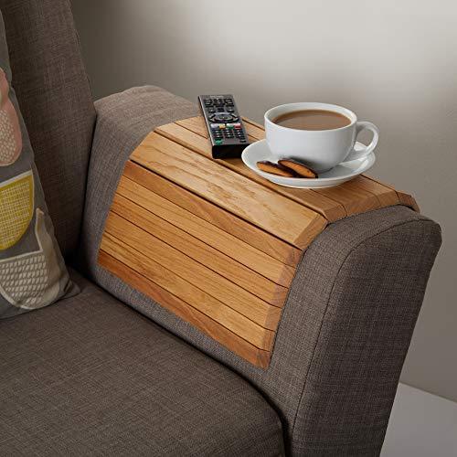 Handgefertigte Eichen Möbel (Flexibles Sofa-Beistelltisch aus Holz, handgefertigt aus nachhaltig bezogener Eiche 40cm x 38cm, anpassbares Geschenk)