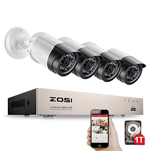 1080P-4-CH-4-Cmaras-ExteriorInterinor-ZOSI-DVR-CCTV-HD-Sistema-de-Seguridad-Kit-de-Vigilancia-para-Hogar-con-1TB-Disco-Duro