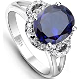 EVER FAITH® 925 Sterling Silver Oval Cut Sapphire Color CZ Engagement Ring